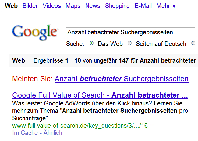 "Screenshot Google ""Befruchtete Serps"""