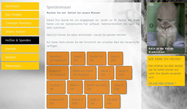 Screenshot virtuelle Spendenmauer